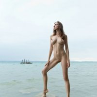 Perfect Mariposa at the beach showing off her natural naked body on these pics