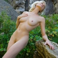 Beautiful nude blonde stunner girl fits perfectly in the mountains busty