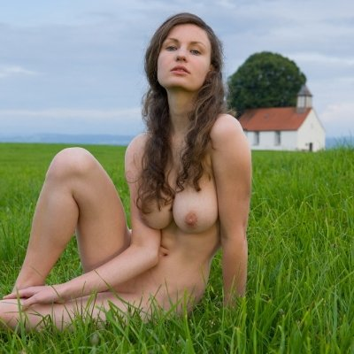 Busty and shy farmers daughter nude on the farm fields Susann