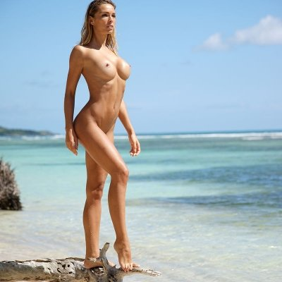 Perfect beach babe natural breasts